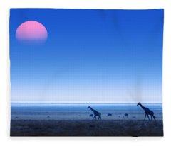 Giraffes On Salt Pans Of Etosha Fleece Blanket