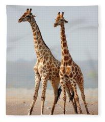 Giraffes Standing Together Fleece Blanket