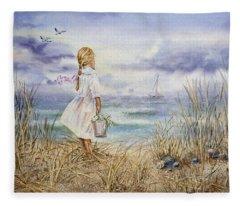 Girl At The Ocean Fleece Blanket