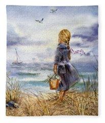 Girl And The Ocean Fleece Blanket