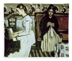 Girl At The Piano Overture To Tannhauser, 1868-69 Oil On Canvas Fleece Blanket
