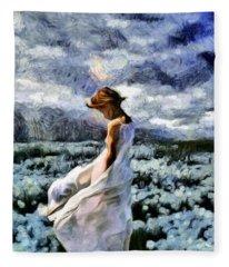 Girl In A Cotton Field Fleece Blanket