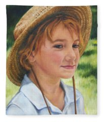 Girl In Straw Hat Fleece Blanket
