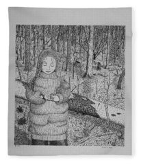 Girl In The Forest Fleece Blanket