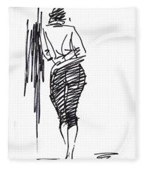 Girl Leaning Against Wall Fleece Blanket