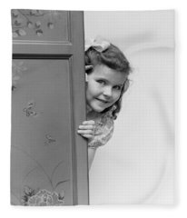 Girl Peeking Around Folding Screen Fleece Blanket