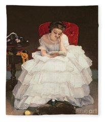 Girl Reading Fleece Blanket