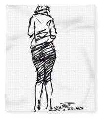 Girl Sketch Fleece Blanket