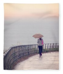 Girl Walking With Umbrella Fleece Blanket