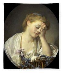 Girl With A Dead Canary Fleece Blanket