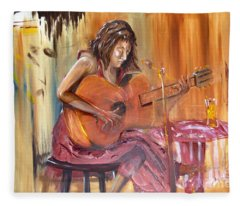 Girl With A Guitar Fleece Blanket