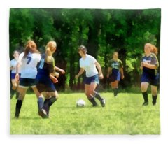 Girls Playing Soccer Fleece Blanket