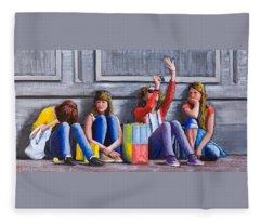 Girls Waiting For Ride Fleece Blanket