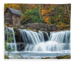 Glade Creek Grist Mill And Waterfalls Fleece Blanket
