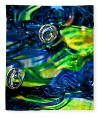 Glass Macro - Seahawks Blue And Green -13e4 Fleece Blanket