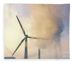 Gloomy Industrial View. Fleece Blanket