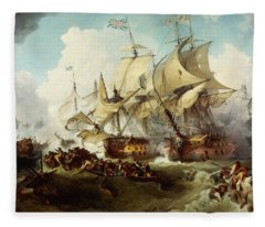 Glorious First Of June Or Third Battle Of Ushant Between English And French Fleece Blanket