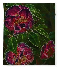 Glowing Camellia Fleece Blanket