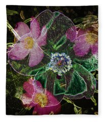 Glowing Wild Rose Fleece Blanket