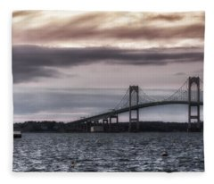 Goat Island Lighthouse And Newport Bridge Fleece Blanket