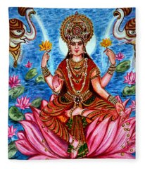 Goddess Lakshmi Fleece Blanket