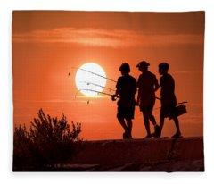 Fishing Tackle Fleece Blankets