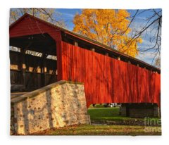 Gold Above The Poole Forge Covered Bridge Fleece Blanket