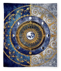 Gold And Sapphire Moon Dial I Fleece Blanket