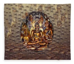 Gold Buddha Fleece Blanket