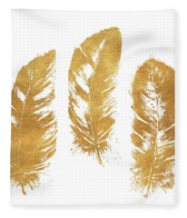 Gold Feather Square Fleece Blanket