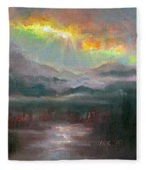 Gold Lining - Chugach Mountain Range En Plein Air Fleece Blanket