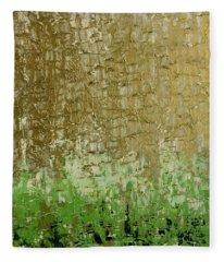 Gold Sky Green Grass Fleece Blanket