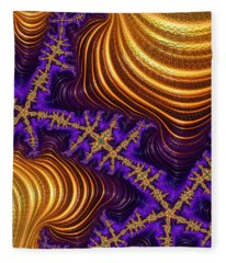 Golden And Purple Fractal River And Mountain Landscape Fleece Blanket