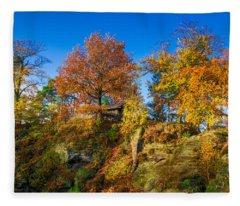 Golden Autumn On Neurathen Castle Fleece Blanket