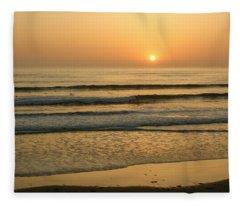 Golden California Sunset - Ocean Waves Sun And Surfers Fleece Blanket