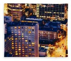 Golden Cityscape Vancouver Mcccl Fleece Blanket