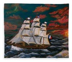 Golden Era Of Sail Fleece Blanket