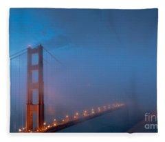 Golden Gate At Blue Hour Fleece Blanket