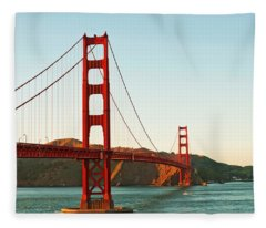 Fleece Blanket featuring the photograph Golden Gate Bridge At Sunset by Todd Aaron