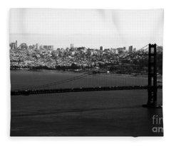 Golden Gate Bridge In Black And White Fleece Blanket