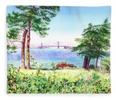 Golden Gate Bridge View From Lincoln Park San Francisco Fleece Blanket