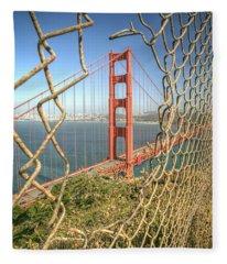 Golden Gate Through The Fence Fleece Blanket