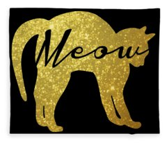 Golden Glitter Cat - Meow Fleece Blanket