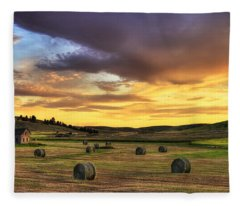 Golden Hour Farm Fleece Blanket
