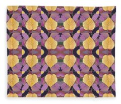 Golden - Leaves And Petals Fleece Blanket
