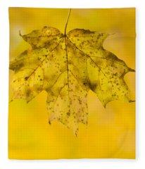 Golden Maple Leaf Fleece Blanket