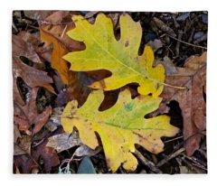 Golden Oak Leaf Duet Fleece Blanket