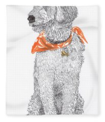 Golden Poodle Fleece Blanket