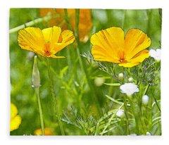 Golden Poppies Wildflower Digital Painting Fleece Blanket
