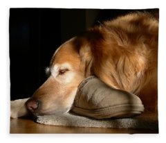 Golden Retriever Dog With Master's Slipper Fleece Blanket